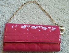 AUTHENTIC DIOR Pink Patent Leather Chain Long Wallet RARE