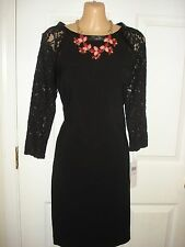 London Times Wear to Work 3/4 Sleeve With Lace Trim Black Color Shift Dress Sz 6