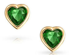 Solid 14K Yellow Gold 6mm HEART shaped Emerald GREEN CZ Screw Back Stud EarringS