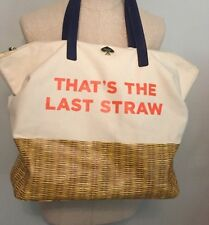 "Kate Spade Call To Action ""That's the Last Straw"" Terry Tote bag Rare NWT"
