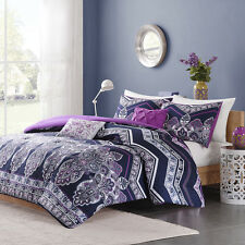 BEAUTIFUL TROPICAL EXOTIC PURPLE BOHEMIAN CHEVRON COMFORTER SET FULL QUEEN SZ