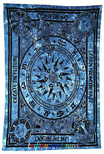 Indian Twin Blue Cycle Of Ages Tapestry Decor Cotton Bed Cover Wall Hanging_