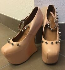 Jeffrey Campbell Nude Peach Night Spike Heels Shoes Sz 8.5 Club Women's Wedges