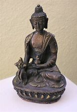 "Slightly Old Bronze Medicine Buddha Statue for Dharma in Nepal, Tibet 6"" High"