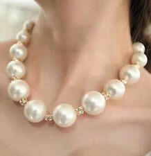 VINTAGE GOLD TONE & FAUX PEARL NECKLACE/CHOCKER 17''