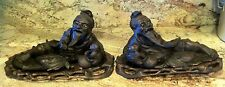 PAIR CARVED ANTIQUE CHINESE HARD WOOD FIGURINE, RECLINING MAN WITH BOY ON STAND