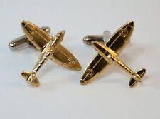 Supermarine Spitfire Plane Cufflinks in Gold Plated English Pewter, Handmade