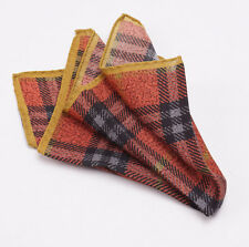 New $140 BATTISTI NAPOLI Orange-Gold-Black Plaid Check Wool Pocket Square