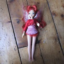 "Rosetta Tinkerbell Fairy Faeries Disney Princess 11"" Plastic Doll Toy Red Wings"