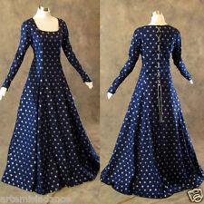 Navy Silver Fleur De Lis Medieval Renaissance Gown Dress Cosplay LOTR Wedding 4X