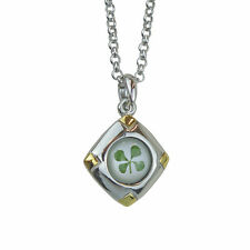Celtic Lucky Real Four Leaf Clover Diamond Pendant with Certificate & Gift Box