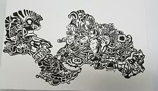Schneider Original Art Pen and Ink Drawing Abstract Black White 12x18 Signed