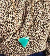Fashion Charm jewelry Gem Triangle vintage long Pendant Chain Necklace N103