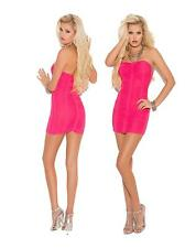 Ladies Strapless Ruched Bandeau Hot Pink Mini Dress Christmas Party Clubwear