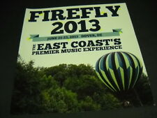 FIREFLY Premier Music Experience DOVER, DE June 21-23, 2013 2-sided PROMO AD