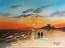 "MAL..BURTON ORIGINAL ART OIL PAINTING "" SUNRISE  BAMBURGH CASTLE"