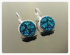 14mm Brass Silver Lever Back Sparkly Round Resin Druzy Earrings  Dark Turquoise