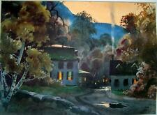Rare John Pike Watercolor Print - USA - New England Quiet Beauty at Supper Time
