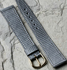 Grey Made in France Genuine Lizard 20mm watch band by Louis Martin NOS 1960s/70s