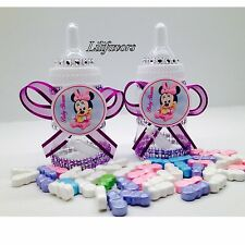 12 Fillable Baby Girl Shower Bottles Minnie Mouse Purple  Party Favors