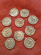 Lot of 10 Pewter Jester Necklace Pendants Clown Made in USA Lead Free medallion