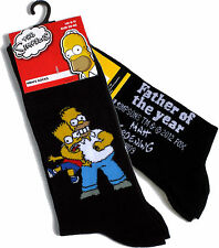 MENS THE SIMPSONS HOMER & BART FATHER OF THE YEAR SOCKS 6-11 BNWT
