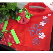 Red Strawberry Reusable Folding Shopping Bag Travel Grocery Tote Bags