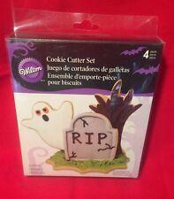 Wilton Metal Halloween Cookie Cutter Set 4 Designs Ghost Tombstone Tree