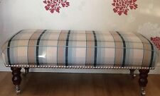 A Quality Long Footstool In Laura Ashley Farrell Duck Egg Fabric