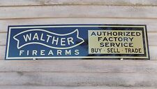 EARLY STYLE WALTHER FIREARMS DEALER SIGN/AD 1'X4' ALUM. PANEL W/BANNER LOGO