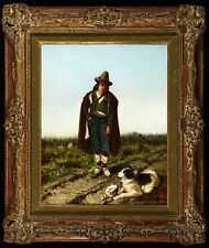 19TH CENTURY EUROPEAN OIL PAINTING OF AND MAN AND HIS DOG