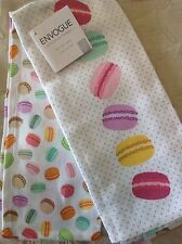 ENVOGUE (2)  KITCHEN TOWELS MACAROONS 100% COTTON NWT