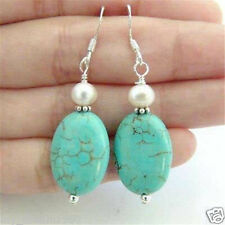 Fashion Oval blue turquoise Gemstone&Pearl 925 Sterling Silver Dangle Earrings