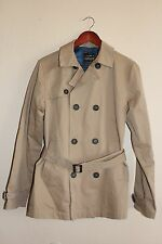 NEW Mens TOPMAN Double Breasted Herringbone Mac Jacket - Tan Camel - Small