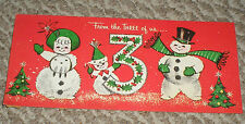 Vintage 1960s Gibson Glittered Chubby Jolly Snowmen 3 of Us Christmas Card