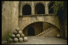 118072 Great Stone Cannon Balls Inside The Fortification A4 Photo Print