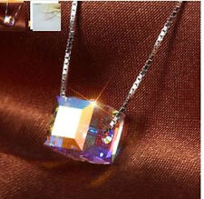 SILVER PLATED CRYSTAL CUBE PENDANT NECKLACE 6MM