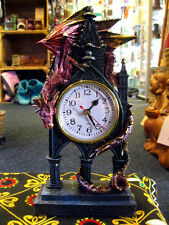 DRAGON CLOCK Carriage MANTEL Desk Guardian GOTHIC FANTASY Horror PAGAN CELTIC