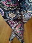 GREAT SOFT brushed PAISLEY FLORAL Leggings Poly S M 1X 2X One Size