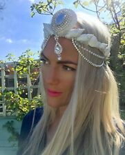 White Sea Shell Pearl Diamond Mermaid Crown Hair Band Choochie Choo Beach Hippy