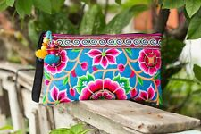 Blue Silk Worm Hmong Clutch Bag with Hmong Tribes Embroidered Handmade Handbags