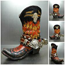 WESTERN RUSTIC Small COWBOY BOOT with SPURS PIGGY BANK Hand Painted UNIQUE GIFT