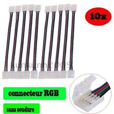 10x 10mm LED PCB Connecteur Ruban/Fil Câble Adaptateur Pr Bande RGB Sans Soudre