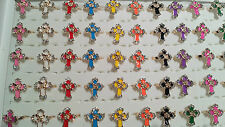 Joblot 50pcs Cross Design mixed colour Diamante Fashion Rings - NEW Wholesale