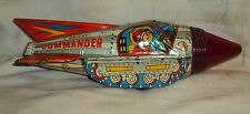 VINTAGE FRICTION ORIENT COMMANDER ROCKET TINPLATE SPACE TOY MADE IN INDIA C1970s