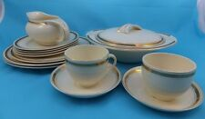 Vintage Burleigh Balmoral Dinner Set Cups Plates Serving Dish White & Gold RARE