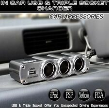 3 in 1 Triple Socket Car Van Cigarette Lighter Adapter Power Plug USB Port
