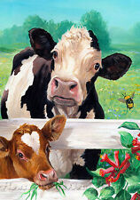 "What's Up Buzz House Flag Cows Calf Bumblebees Summer Pastures 28"" x 40"""