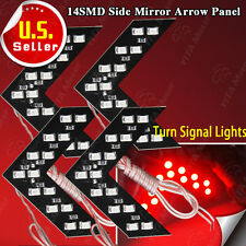 4X 12V Super Red Car Arrow Panels Rear View Side Mirror 14 LED Turn Signal Light