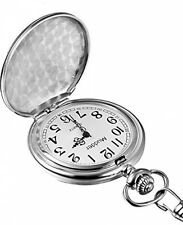 Classic Vintage Silver Steel Mens Quartz Pocket Watch Chain Gift Battery Powered